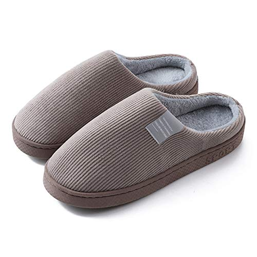 Inicio unisex Zapatillas confort de algodón Invierno Ligero Antideslizante Mantiene el calor Parte inferior gruesa Reduce el dolor de pies 43-44 Marrón.
