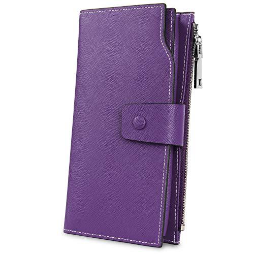YALUXE Geldbörse Echtleder Damen Telefon Brieftasche 21 Kartensteckplätze Clutch Umschlag Reißverschluss Münzfach Kreuz Lila