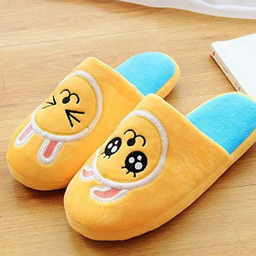 SHOESESTA Zapatillas de Estar por Casa Zapatillas de Felpa Animales de Dibujos Animados Mujeres Invierno Hogar Calidez Antideslizante Ocio Zapatos de Piso Tamaño Sin Conejos Amarillos (35-38)