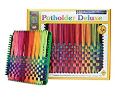 """Harrisville 7-inch Metal Loom kit makes beautiful 6"""" x 6"""" potholders. Versatile tools and instructions allow you to make any custom design. Hand weaving is a time-honored, educational and fun activity for children and adults alike. Preserves the New ..."""