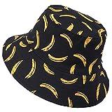 Ruphedy Cappello da Pescatore Unisex Estate Funky Stampa Reversibile Viaggio Spiaggia Cappelli da Pescatore (Banana-Nero)