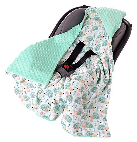 Einschlagdecke 100% Baumwolle 85x85cm doppelseitig multifunktional Minky Kuscheldecke für Kinderwagen weich flauschig (minze Igel mit minzer Minky)