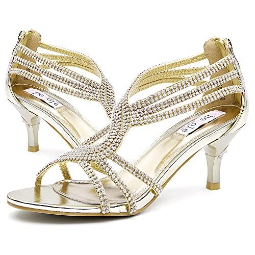 SheSole Ladies Kitten Heels Evening Rhinestone Crystal Dress Heeled Sandals For Women Gold US Size 9.5