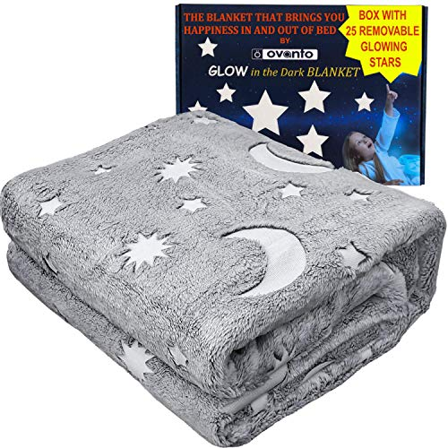 Glow in The Dark Blanket - 50 X 60 Inches - Glow Stars and Cool Stuff for Kids Fleece Throw Blanket - Christmas Fun Gifts for Boys, Girls and Kids - Super Soft Fluffy Plush Furry Fleece Gray Blanket