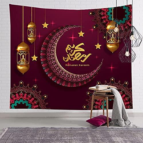 KHKJ Musulmán Luna Castillo Tapiz para Colgar en la Pared Viajar Camping Pintura al óleo Manta Boho Almohadilla de Yoga Tapices para Dormir A18 200x180cm