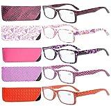 Eyekepper 5-Pack Bisagras de resorte Estampado Rectangular Gafas de lectura Los lectores Mujeres