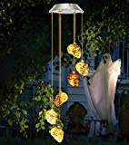 Bbrand LED Solar Powered Skull Wind Chimes Halloween Decorations, Solar Powered Skeleton Wind Chime Lights with 6 LED Skeleton Decor Lights Skull Light for Outdoor Halloween, Party, Christmas