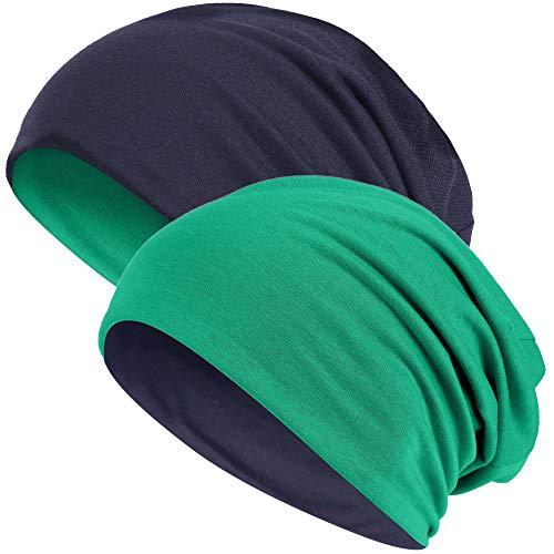 Hatstar Slouch Long Beanie Reversible Strickmütze 2 in 1 Wintermütze in 48 Farben (2 in 1 dunkelgrün/Navy)