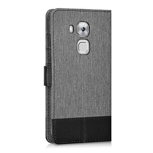 kwmobile Huawei Nova Plus Hülle - Kunstleder Wallet Case für Huawei Nova Plus mit Kartenfächern und Stand - Grau Schwarz - 3