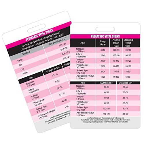 Pediatric Vital Signs Vertical Badge Card - Excellent Resource for Pediatric Nurses, Nursing Clinicals and RN Students - Great Nursing School Supplies and Accessories