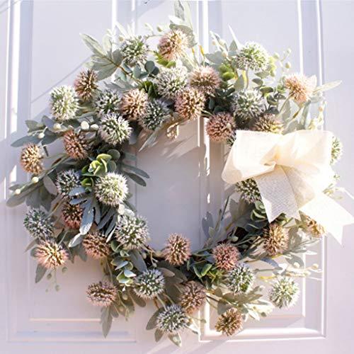 Front Door Wreath Decorazione della Festa Nuziale della Decorazione della Parete Agriturismo Farm House Corona di Fiori Ghirlande di Fiori Artificiali (Color : A)