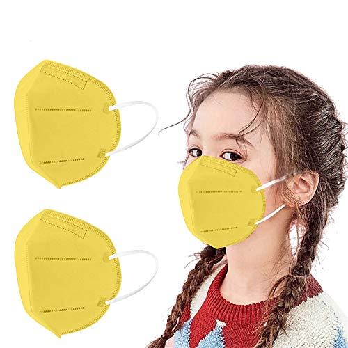 GYZF Protección infantil 3D De_𝙈𝙖𝙨𝙘𝙖𝙧𝙞𝙡𝙡𝙖𝙨_Desechable con Estampado Color sólido 10/20/25/50/100PC, 5 capas Para_Protector_Bucal,Cubrir la Cara (amarillo)