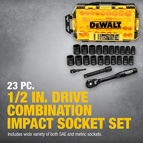 DEWALT Impact Socket Set, 23-Piece, 1/2