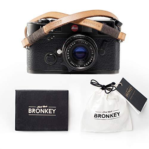 Bronkey Tokyo 106 (95 cm) - Correa para Cámara compacta - Cuello Hombro Vintage Retro cámara Piel Cuero Original Enganche Universal para Sony, Fuji, Leica, Pentax, Etc.