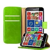 Cadorabo Hülle für Nokia Lumia 630 - Hülle in Gras GRÜN – Handyhülle im Luxury Design mit Kartenfach & Standfunktion - Hülle Cover Schutzhülle Etui Tasche Book