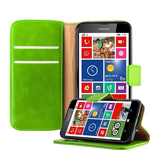 Cadorabo Hülle für Nokia Lumia 630 - Hülle in Gras GRÜN – Handyhülle im Luxury Design mit Kartenfach und Standfunktion - Case Cover Schutzhülle Etui Tasche Book