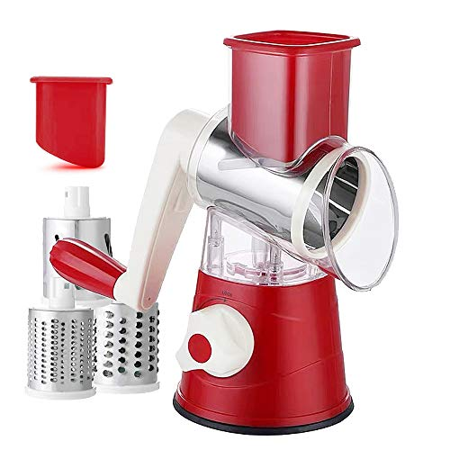 Wxvimi graters, manual rotating cheese grater, vegetable and fruit slicer, nut shredder, with 3 interchangeable stainless steel round blades, easy to clean, suitable for kitchen (red)