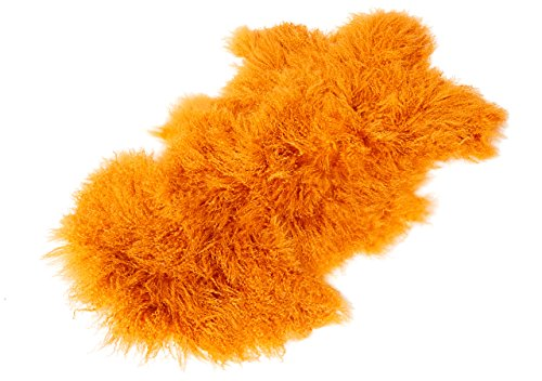 Tibet Lammfell Teppich Tierform (große Farbauswahl) Farbe orange JAY12 TP2