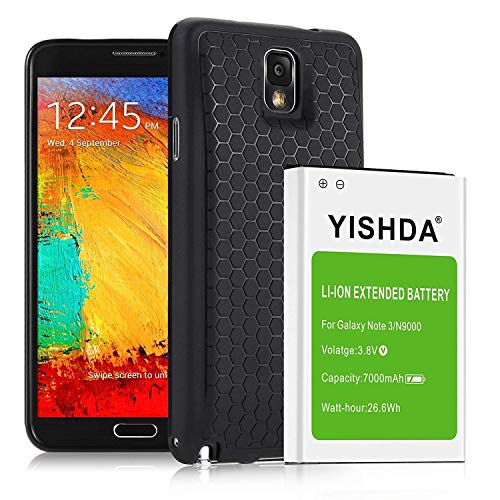 YISHDA 7000mAh Extended Li-ion Replacement Battery Compatible with Samsung Note 3 with Back Cover & TPU Case for N9000 N9005 N900A N900V N900P N900T   Galaxy Note 3 Battery [18 Month Warranty]