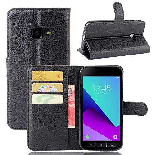 EUGO Hülle Samsung Galaxy Xcover 4 + 1 x Panzerglas, PU Ledercase Tasche Hüllen Schutzhülle Scratch Magnetverschluss Handy-Kasten Handy hülle Standfunktion Handycover