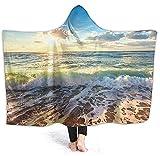 Manta con Capucha - Sea On The Boards Manta de vellón con Capuchasúper Suave y cálida80 * 150cm