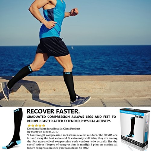 SB SOX Compression Socks (20-30mmHg) for Men & Women - Best Stockings for Running, Medical, Athletic, Edema, Diabetic, Varicose Veins, Travel, Pregnancy, Shin Splints (Black/Blue, Small)