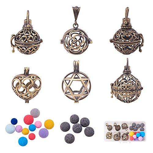 BENECREAT Ätherisches Öl Diffusor Halskette Anhänger, 6 STÜCKE Gemischte Form Hohle Antike Bronze Aromatherapie Medaillon Charme, Duft Parfüm Aroma Schmuck Perle Käfig
