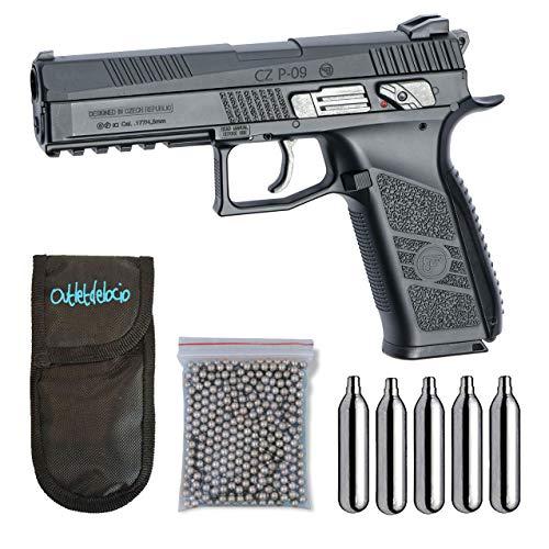 Outletdelocio. Pistola perdigon ASG17537 CZ P-09 Blowback + Funda Portabombonas + Balines + Bombonas co2. 23054/29318/13275