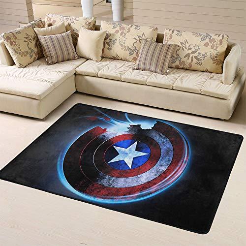 Zmacdk Avengers Infinity - Alfombra de dormitorio antideslizante para dormitorio infantil (150 cm x 240 cm), diseño de Capitán América