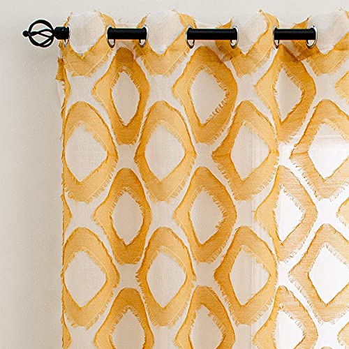 Linentalks Shaggy Yellow Sheer Curtains 84 Inches Long, Diamond Patterned Geometric Faux Linen Sheer Curtains for Living Room Yellow Drapes, Grommet Window Curtain Panels Set of 2 pcs, Mustard Yellow