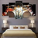 120Tdfc Decoración Pared Drummer Drum Set Música 5 Piezas XXL Cuadros en Lienzo Arte Pared Pared hogar -Listo para Colgar-Pasillo Decor Regalo Creativo