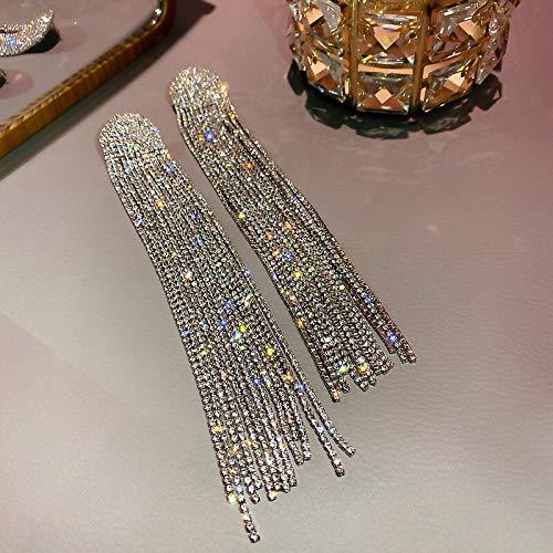 YIJTE Arete Pendientes de Gota de Rhinestone de Borla Larga para Las Mujeres de Gran tamaño de Cristal cuelgan los Pendientes de la joyería de Moda Lujo (Metal Color : Silver)