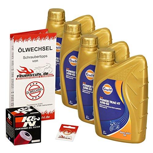 Gulf 10W-40 Öl + K&N Ölfilter für Yamaha MT-03, 06-14, RM02 - Ölwechselset inkl. Motoröl, Filter, Dichtring