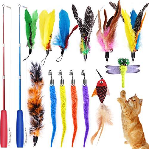 BEYAOBN 15 Piezas Juguete Pluma de Gato Interactivo,Que Incluyen 2 Varita Retráctil y 13 Plumas de Recambio con Campana, Juguete de Cazador de Gatos Interactivo Varita para Ejercitar Gatos y Gatitos