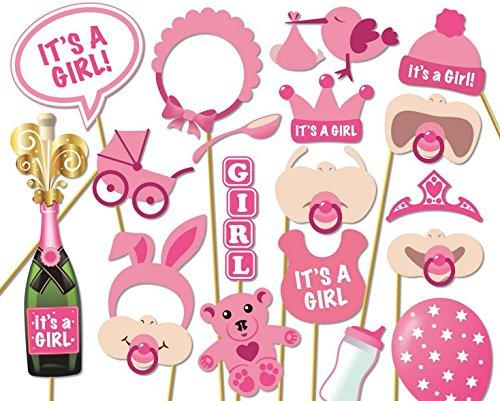 Veewon Baby Shower puntelli per foto, biberon e maschere rosa, cornice per foto, puntelli bambina neonata, regalo decorazione per feste, set di 20 pezzi