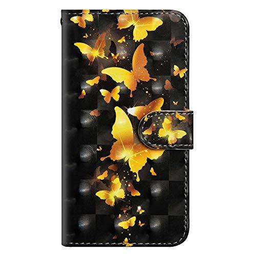 BRAVODAY Coque Galaxy J3 2016, Coloré Relief Housse Coque Portefeuille avec Porte Carte Stand Support Flip Magnetic Cuir pour Galaxy J3 2016, Papillon#1