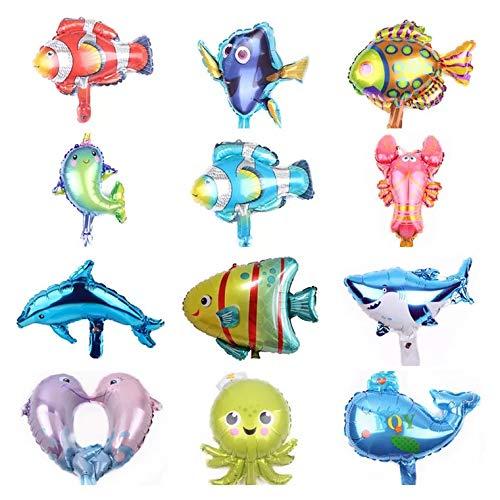 Divertidos globos para fiestas de animales marinos - globos de 12 piezas - para fiestas y cumpleaños
