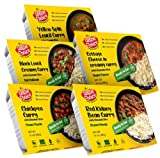 tastie choice Ready to eat Indian Meal- Curry with Rice – Variety Pack–Microwaveable Food Indian entrees (Pack of 5)