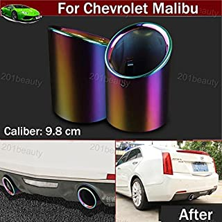 2pcs New Car Chrome Stainless Steel Exhaust Tail Pipe Tip Tailpipe Muffler Cover Trim Emblems Colorful Custom Fit for Chevy Chevrolet Malibu 2012 2013 2014 2015 2016 2017 2018 2019 2020