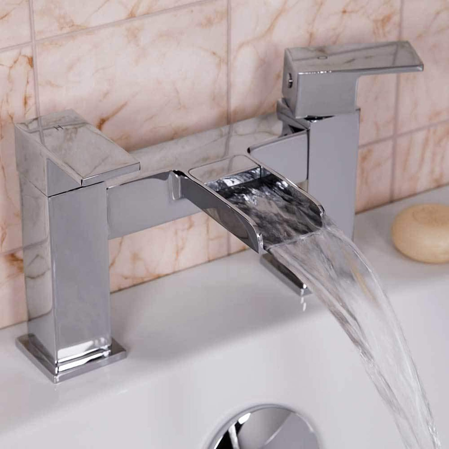 Modern Bathroom Waterfall Bath Filler Mixer Tap Square Twin Lever Handles Chrome