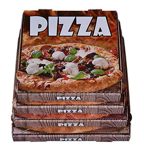 100 Pizzakartons Pizzaboxen Weiss Kraft 4,2cm hoch verschiedene Größen zur Auswahl (26x26x4,2cm)