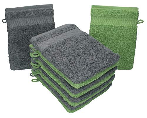 Betz Lot de 10 Gants de Toilette Taille 16x21 cm 100% Coton Premium Couleur Vert Pomme, Gris Anthracite