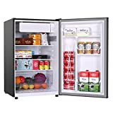 4.5 Cu.Ft Mini Refrigerator with Freezer FRESTEC 37 dB Compact Fridge with 6 Adjustable Mechanical Thermostat, Energy Saving, LED Inside for Room, Dorm or Office, Classic Silver