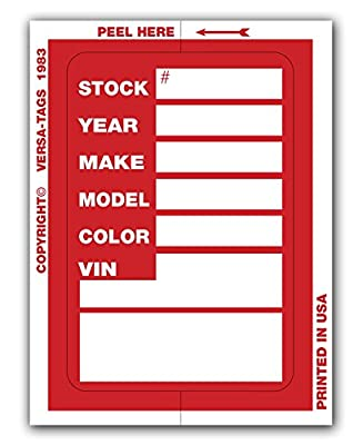 Versa Tags Kleer-bak Stock Stickers (100 Stickers, Red)