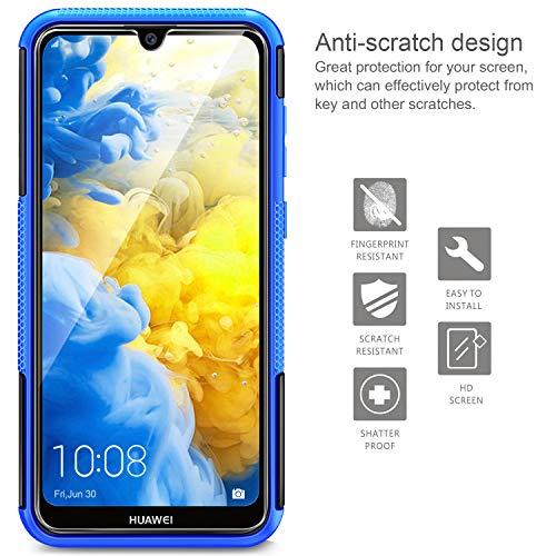AROYI Huawei Y5 2019 Hülle+ Schutzfolie, TPU Series Dual Layer Hybrid Handyhülle Drop Resistance Handys Schutz Hülle mit Ständer für Huawei Y5 2019 Blau - 4