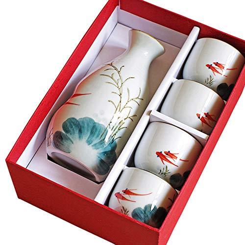 Kimmyer Japonés Goldfish Juego Agua Sake Set-5 Juegos de Sake Conjunto con Embalaje-Pintado a Mano diseño Porcelana cerámica Tradicional Taza de cerámica artesanías Copa de Vino