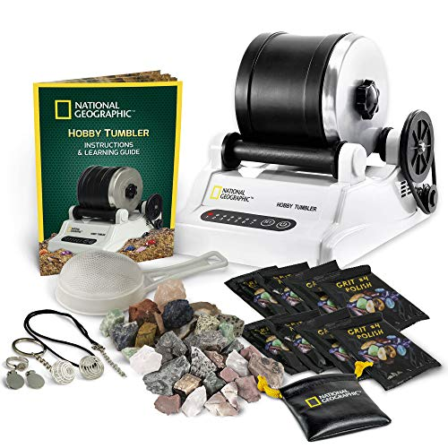 NATIONAL GEOGRAPHIC Hobby Rock Tumbler Includes 1lb Rough Gemstones, 4-Stage Polishing Grit,...