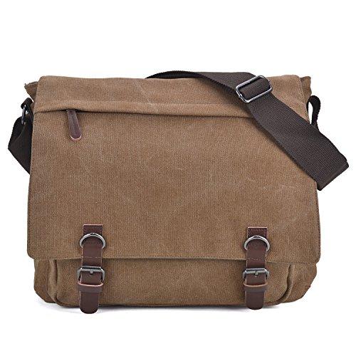 Large Vintage Canvas Messenger Shoulder Bag Crossbody Bookbag Business Bag for 15inch Laptop Brown