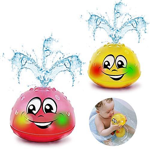 Addmos Badespielzeug, 2 x Wasser Baby Badespielzeug mit Licht Kinder Kleinkinder Spielzeug in Gelb & Pink (EIN Paar)