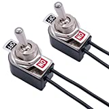 Taiss 2pcs Latching Toggle Switch SPST 2 Position ON/Off 6A 125V AC 10A 12V DC Incidental 5.2 inch Connect Wire Rocker Arm Switch KNS-1